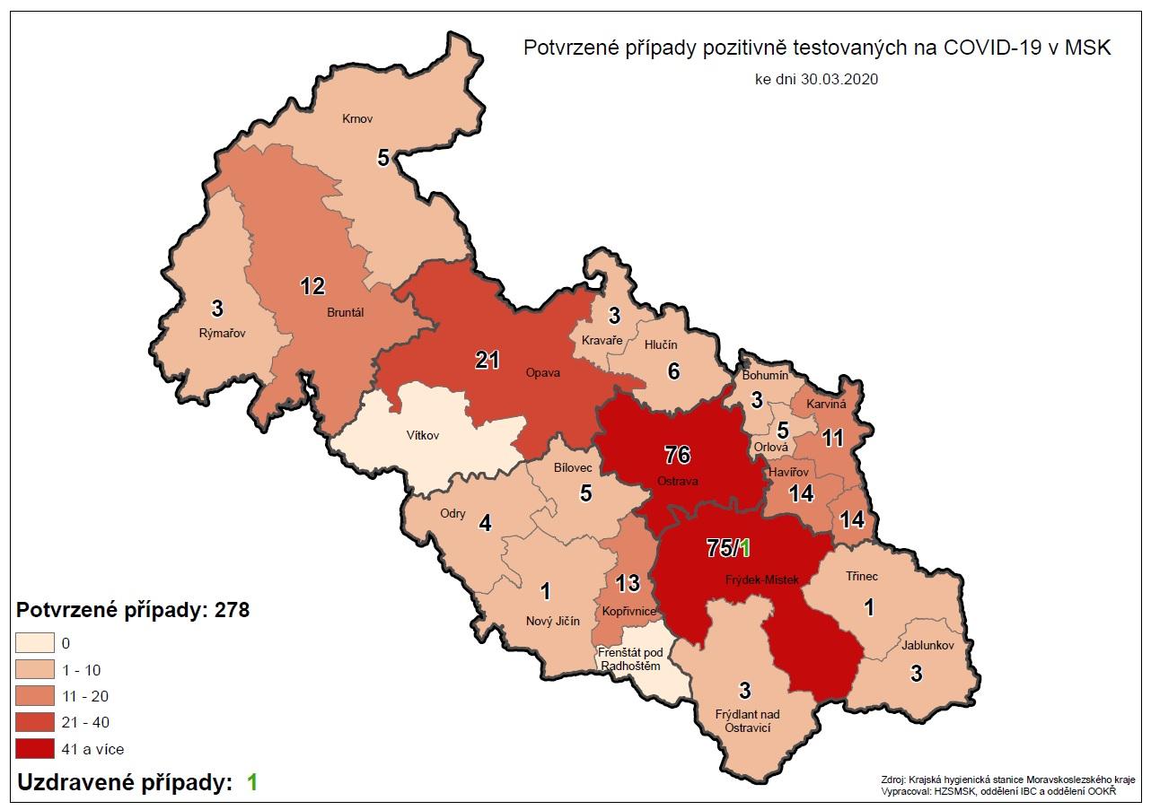 Mapa pozitivne testovanych 2020 03 30 22